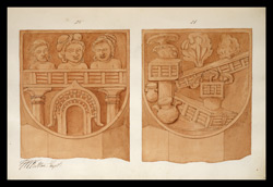 Two drawings of sculpture on the stupa rail at Bodhgaya (Bihar), made by Kittoe during his investigation of the site. January 1847. 13